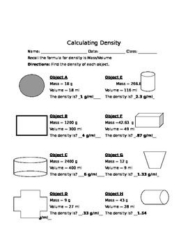 Calculating Density Worksheet Density Worksheet Calculating