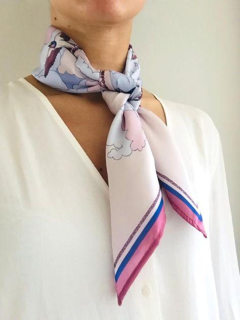 Pañuelo Semi Seda Golondrinas Azul Rosa Pañuelo para el Pelo | Etsy