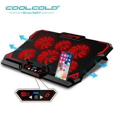 Details About Laptop Cooling Pad 6 Silent Blue Led Powerful Air
