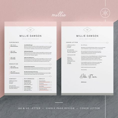 Carrie Resume\/CV Template Word Photoshop InDesign - indesign resume templates