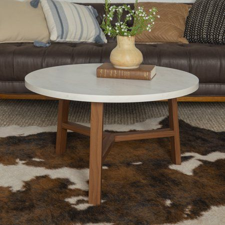 Manor Park Mid Century Modern Round Coffee Table White Marble