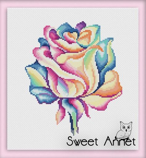 Flowers Cross Stitch Pattern Rose Cross Stitch Easy Cross Etsy Cross Stitch Patterns Flowers Simple Cross Stitch Cross Stitch Designs