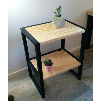 Table D Appoint Table De Chevet En Bois Hiba Table De Chevet Bois Table Bois Et Fer Table De Chevet