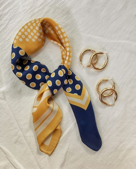 Polka dot yellow mustard and blue hair scarf bandana paired with our best-selling Haru Chunky Tube Hoops - The Hexad