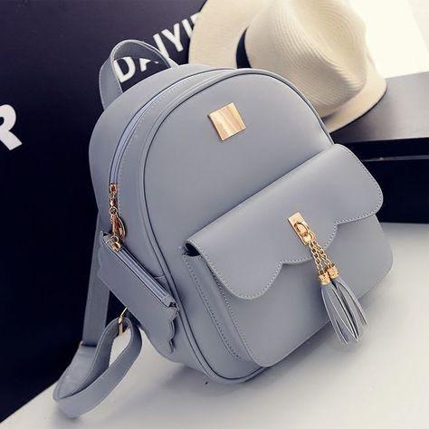 Details about Women Leather Backpack + Shoulder Bag +Purse Schoolbag Handbag Rucksack - Bags 2019 Cute Mini Backpacks, Stylish Backpacks, Girl Backpacks, Leather Backpacks, Cute Backpacks For Traveling, Hello Kitty Backpacks, Fashion Handbags, Fashion Bags, Fashion Backpack