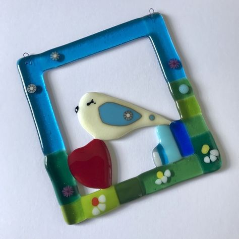 Aqua blue and white fused glass small dish with birds on a wire design