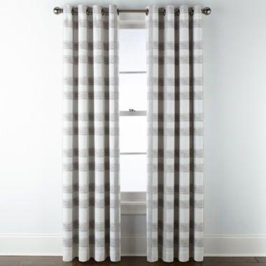 Jcpenney Home Sullivan Plaid Blackout Grommet Top Curtain Panel