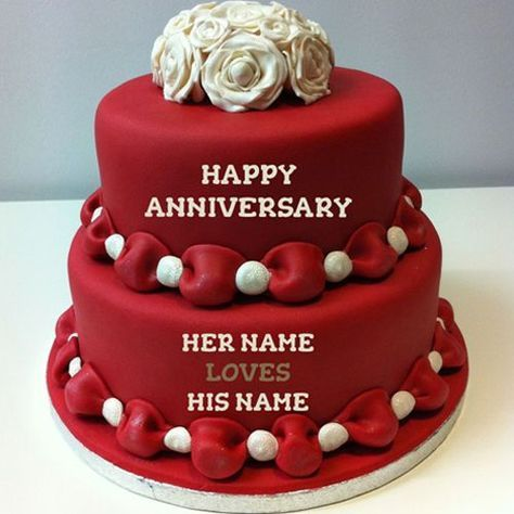 Write Name On Happy Anniversary Cakes Online Free | Happy anniversary  cakes, Anniversary cake pictures, Happy marriage anniversary cake