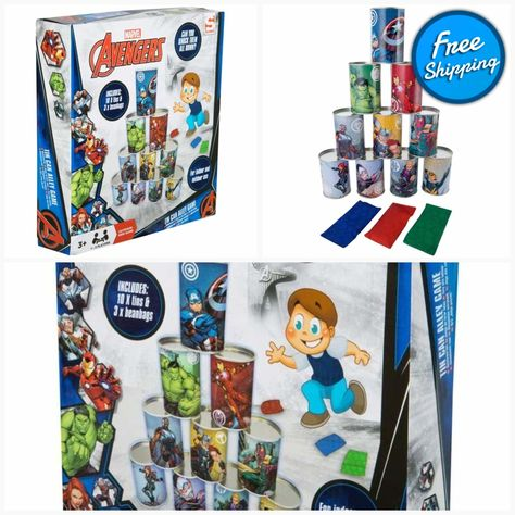 Marvel Avengers Children Tin Can Alley Game Indoor and Outdoor Fun Family Toys