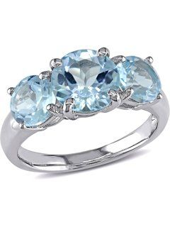 2.00 Ct 3-Stone Round Pink and Blue Topaz 925 Sterling Silver Ring