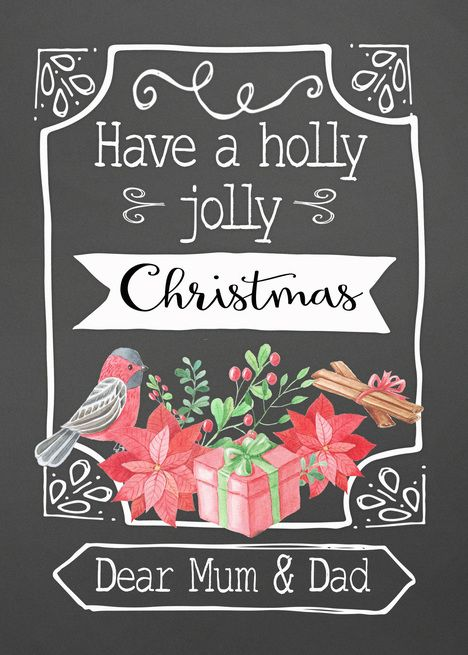 Dear Mum And Dad Christmas Card