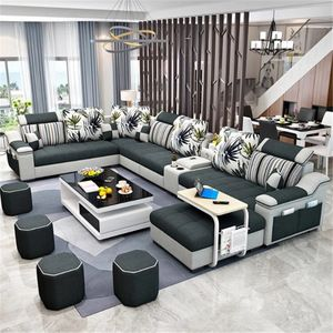 Cheap Home Furniture 7 Seater Modern European Wooden Fabric U Shaped Chaise Lounge Sectional Couch Living Room Sofa Set In 2020 Cheap Home Furniture Living Room Sofa Furniture