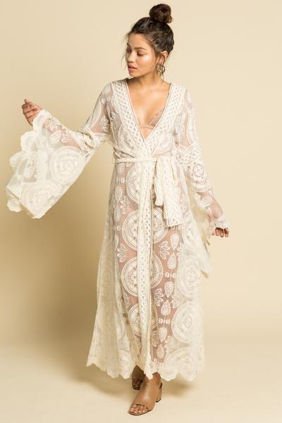 e07d205a7 2019 Nostalgia white Boho lace kimono in 2019 | Boho Dresses | Lace ...