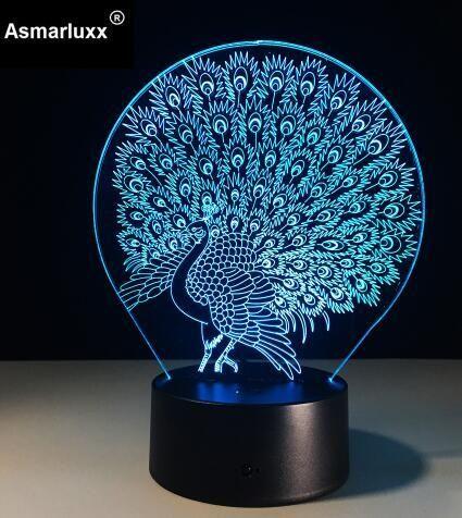 Table Lamp 3d Led Night Lightshopname Night Light Lamp Peacock Lamp