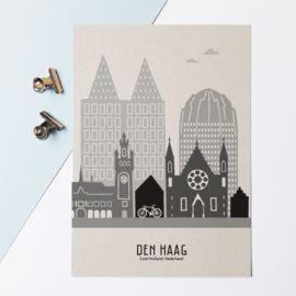 Muurstickers Den Haag.Karton A4 Poster Skyline Den Haag De Hofstad Dan Denkt Mevrouw