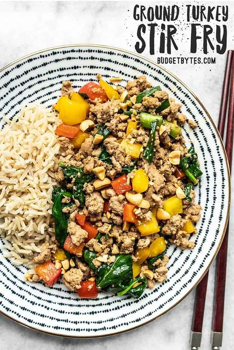 This super easy Ground Turkey Stir Fry is a delicious and versatile answer to busy weeknight dinners. Try the suggested variations to make it your own! Budgetbytes.com #stirfry #healthyrecipe