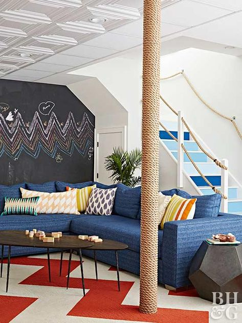 Montauk home by Ondine Karady. Love the fabric on the couch. That is the perfect shade of blue.