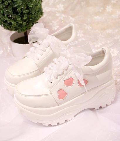 White Kawaii Heart Lace Platform Shoes
