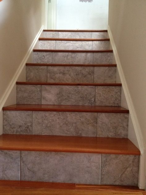 Best Wood Stair Treads With Tile Risers Flooring Design Photo 17 | Best Wood For Stair Treads | Flooring | Reclaimed Wood | Pine | Non Slip | Stair Climber