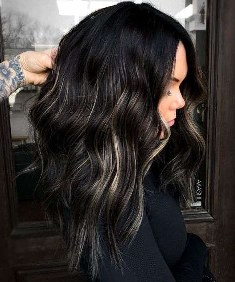 Hair Color Streaks, Black Hair With Highlights, Hair Color Highlights, Black Highlighted Hair, Black Hair To Balayage, Lowlights For Black Hair, Black Hair With Grey Highlights, Bleaching Black Hair, Black Hair With Blonde Highlights