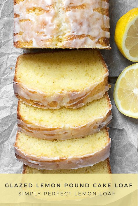Simply perfect lemon pound cake loaf with a sweet glaze topping.