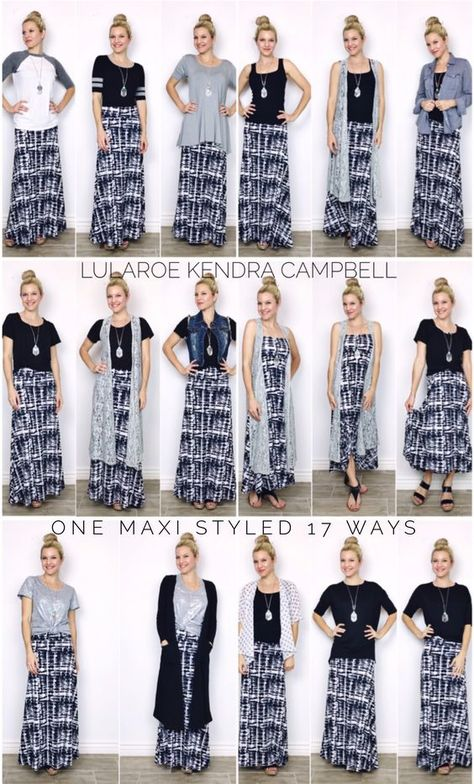 LuLaRoe maxi skirt styled 17 different ways! The maxi skirt is so versatile!