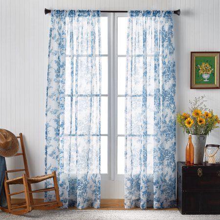 The Pioneer Woman Pioneer Toile Pole Top Curtain Panel Walmart