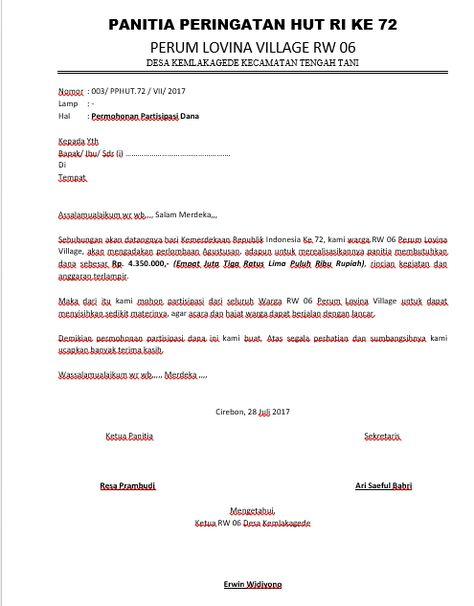 Contoh Surat Resmi Bahasa Cirebon