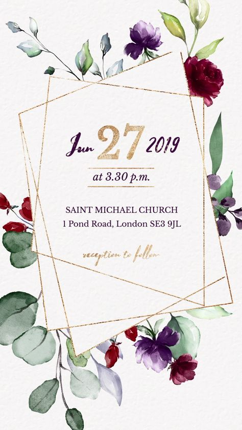 Burgundy Gold Floral Wedding Invitation Video, Save the Date