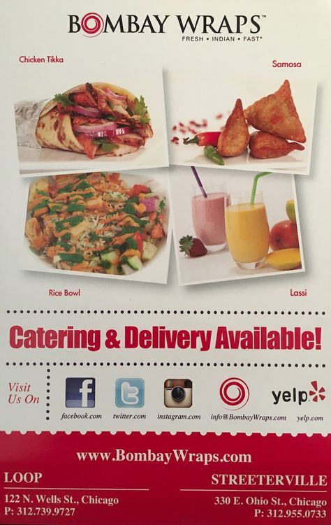Bombay Wraps Carry Out Chicago Scanned Menu With Prices Menu Restaurant Chicago Restaurants Menu
