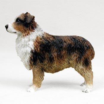 Dog Figurine Australian Shepherd Brown Docked Tail Standard Dog