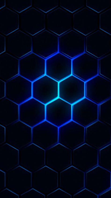 Blue Glow Black Geometric Wallpaper Geometric Wallpaper Android Wallpaper Black And Blue Wallpaper Blue and black hexagon wallpaper