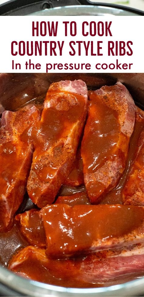 Instant Pot Country Style Ribs Make these amazing country style pork ribs in the pressure cooker. Pressure Cooker Beef Ribs, Instant Pressure Cooker, Instant Cooker, Power Cooker Recipes, Best Pressure Cooker Recipes, Best Instant Pot Recipe, Instant Pot Dinner Recipes, Country Style Pork Ribs, Beef Country Ribs Recipe