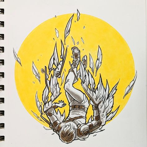The Fall of Icarus. Copic markers & Tombow brush
