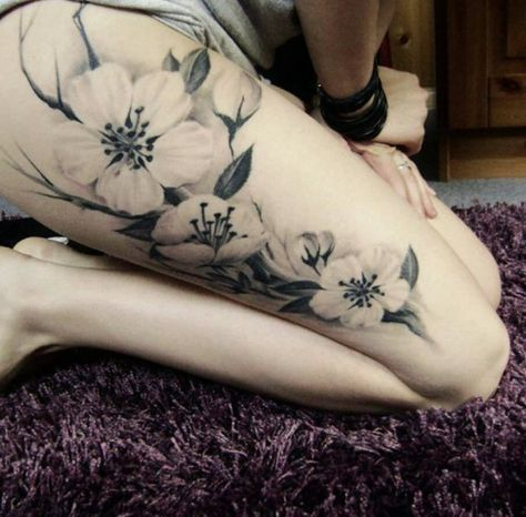 Black And Grey Orchid Tattoo On Thigh White Flower Tattoos Girl Thigh Tattoos Flower Thigh Tattoos