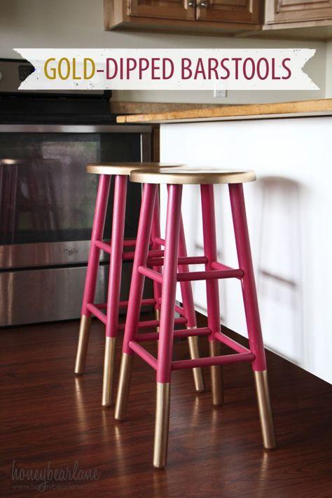 Gold Dipped Bar Stools. On Honeybear Lane blog, Heidi jazzed up some generic, oak bar stools with paint.