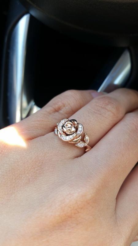 d62159604cc53 Enchanted Disney Belle 1/10 CT. T.w. Diamond Rose Ring in 10K Rose ...