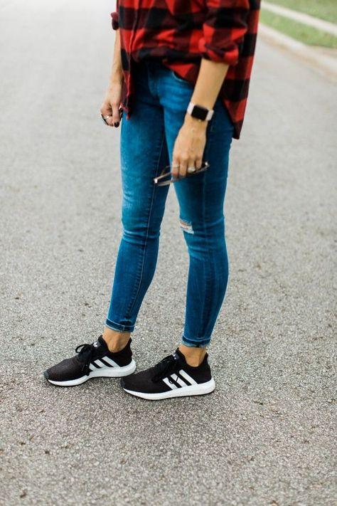 striped dress sneakers white tenis blue handbag sporty chic