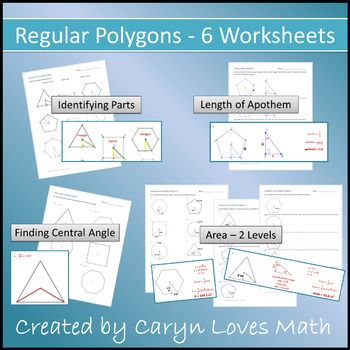 6 Practice Worksheets For High School Geometry 1 Identifying Parts Of Regular Polygons Highlight The Apothem Regular Polygon Hs Geometry Geometry High School Angles of polygons practice worksheet