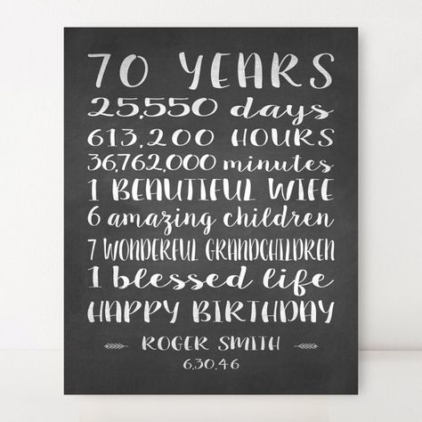 70th BIRTHDAY GIFT 70 Year Birthday Canvas Sign Personalized Gift For Dad Grandpa Chalkboard L