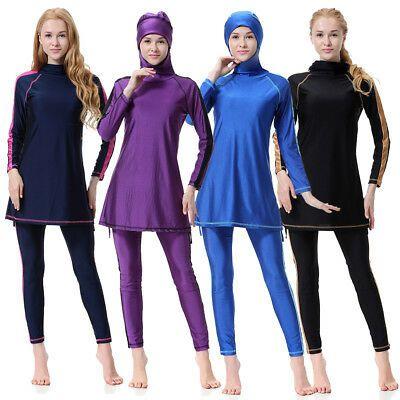 Womens Muslim Islamic Full Cover Costumes Modest Swimwear Swimming Burkini Arab