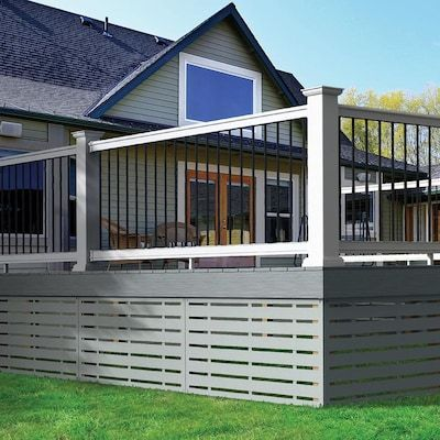 Freedom Prescot White Pvc Deck Rail Kit With Balusters Lowes Com Patio Deck Designs Pvc Decking Deck Skirting