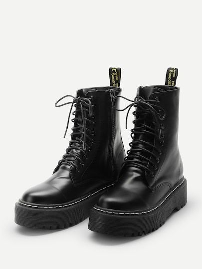 Solid Lace Up Boots -SheIn(Sheinside