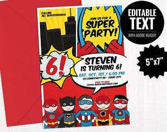 Invitación Editable Superhéroes Tarjeta Imprimible