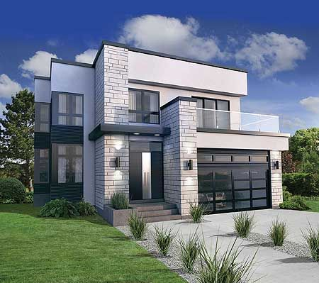 plan 80826pm: master suite with wrap-around deck   modern house
