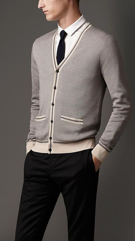 Burberry London Stripe Detail Silk Cardigan