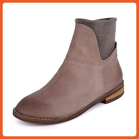 811f148a07c3 3 Colors Women S Handmade Leather Ankle Boot Low Heel Comfortable Walking  Dress Boots (US 8    CN 39