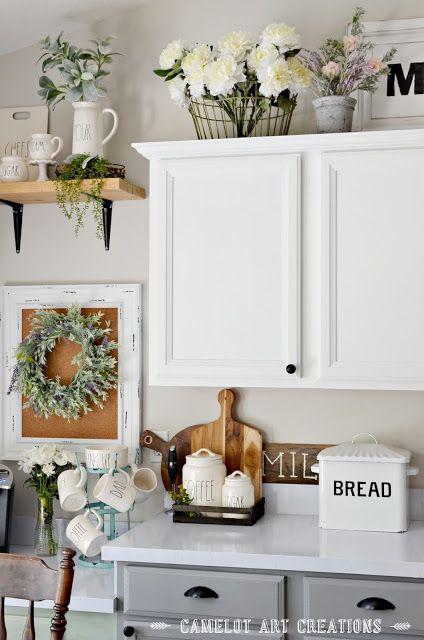 Camelot Art Creations 5 Tips To Creating A Farmhouse Kitchen Farmhouse Kitchen Decor Cabinet Decor Decorating Above Kitchen Cabinets