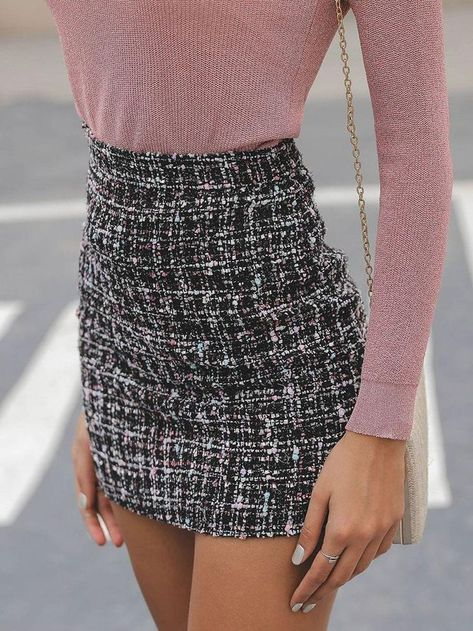 High Waist Mini Tweed Skirt is part of Miniskirt outfits -