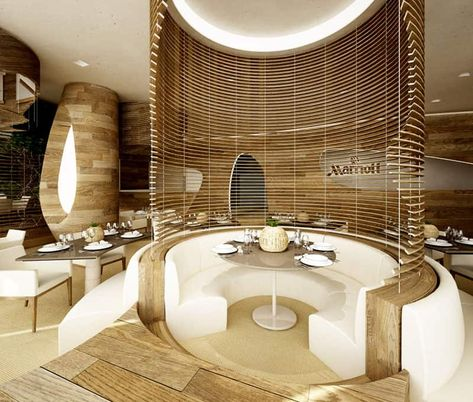 Fun club circular booth seating, very bright and implements light wood into the design. ♂ Commercial Interior Space Design Marriott - Serendipity by Marco Marotto, via Behance
